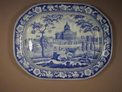 Platter with a view of Boston State House (three cows in foreground; two trees)
