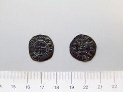 Billon denier of William II de Villehardouin from Corinth