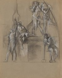 """Compositional study for figures of miners in the """"Science Revealing the Treasures of the Earth,"""" lunette in the rotunda of the Pennsylvania State Capitol at Harrisburg"""