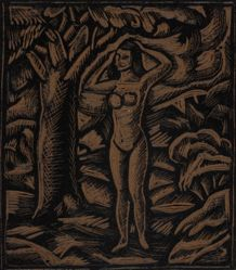 Linoleum block for Nude (Summer), or Standing Female Nude