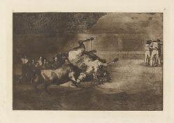Cheval renverse par un taureau (Horse Thrown by a Bull), Plate B from La tauromaquia (third edition)