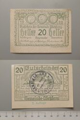 20 Heller from Abekberg, redeemable Dec. 31, 1920, Notgeld