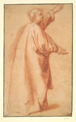 Study of a woman in a wide mantle (recto); Fragments of studies (verso)