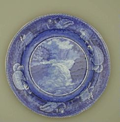 Plate with a View of Trenton Falls, New Jersey