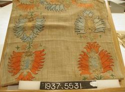 Towel of plain cloth, embroidered