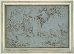 Landscape with Mercury Approaching a Shepherd (recto); Animal Head (verso)