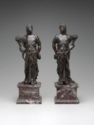 Pair of Allegorical Figures with Cornucopia