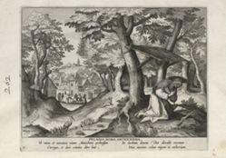 Pelagia of Antioch, one of 24 prints from the series Solitudo Sive Vitae Foeminarum Anachoritarum (Female Hermits in Landscapes)