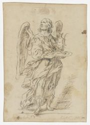 An angel holding a tray with an oil pitcher