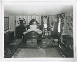 """Interior view of Katherine S. Dreier's West Redding home, """"The Haven"""" -- KSD's bedroom with Wassily Kandinsky and Georges Braque's Music [Phillips Collection]"""