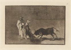 Los Moros hacen otro capeo en plaza con su albornoz (The Moors Make a Different Play in the Ring Calling the Bull with their Burnous), Plate 6 from La tauromaquia