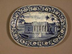 Platter with a view of Savannah, Bank (labeled Exchange, Charleston)
