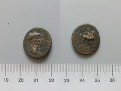 Leaded coin of Claudius and Agrippina I from Mostene (Caesarea)