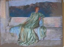 Study, Lady in green dress seated on stone ledge