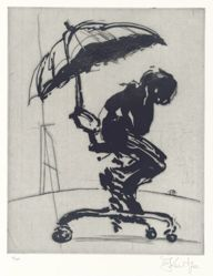 Zeno at 4am (umbrella man) 4/40, 2001, from suite of 9 etchings