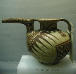 Painted vase with beak-spout