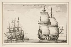 Dutch East Indiaman, from Navium varie figurae, number three of a series of twelve etchings of Dutch ships.