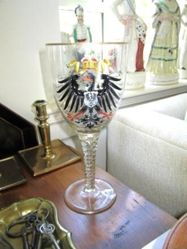 Glass goblet with crowned imperial eagle and Hohenzollern coat of arms