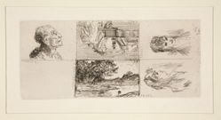 a. Head of an Old Man by Daumier (top left); b. Chez Charles Beriot by Taiee (top center); c. Head of a young woman by Rops (top right); d. River landscape by Harpignies (bottom center); e. Profile of a young woman's head by Rops (bottom right)