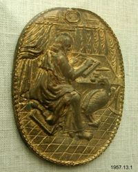 Bronze plaquette, with St. John the Evangelist