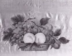 Fruit and flowers painted on satin