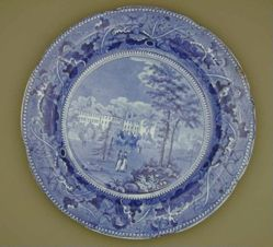 Plate with a view of Harvard College (Several Buildings)