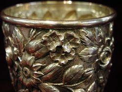 "Goblet, ""Baltimore Rose"" pattern"