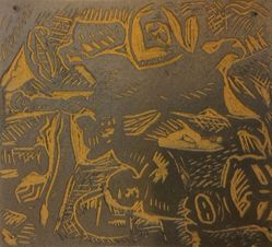 Linoleum block for Scene from 'The Cabinet of Dr. Caligari'