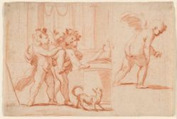 Two Putti Carrying a Third Putto; Another Putto from the Rear