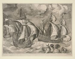 Three Caravels in a Rising Squall with Arion on a Dolphin