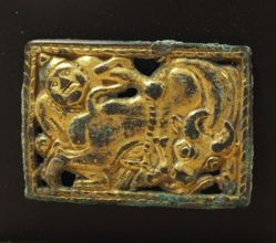Belt Plaque with Man Subduing Ox