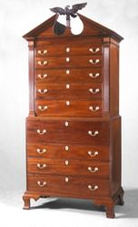 Chest-on-chest with secretary drawer