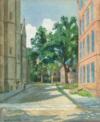 Vanderbilt Hall with Red Brick Buildings, Yale College