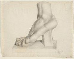 Untitled [drawing of foot cast, on a platform]