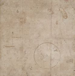Coat of Arms of Pope Julius III (recto); Figural and Architectural Sketches (verso)