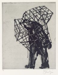 Zeno at 4am (caged man) 2001, from suite of 9 etchings
