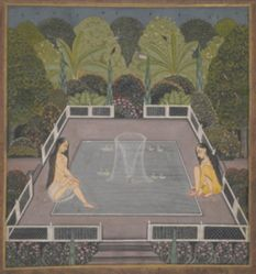 Women by a Garden Pool