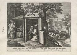 Mary Peccatrix, one of 24 prints from the series Solitudo Sive Vitae Foeminarum Anachoritarum (Female Hermits in Landscapes)
