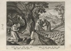 Erena, one of 24 prints from the series Solitudo Sive Vitae Foeminarum Anachoritarum (Female Hermits in Landscapes)
