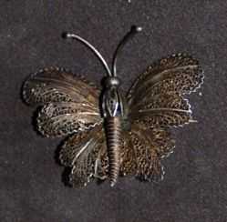 Brooch in the shape of a butterfly, filigree