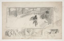Assorted sketches (recto); Sketch of a man in a cape (verso)