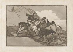 Modo con que los antiguos españoles cazaban los toros á caballo en el campo (The Way in which the Ancient Spaniards Hunted Bulls on Horseback in the Open Country), Plate 1 from La tauromaquia