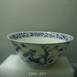 Bowl with Birds in Landscape