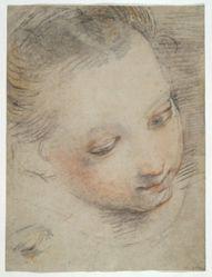 Head of a Girl, study for a figure in the Madonna del Popolo altarpiece in the Uffizi