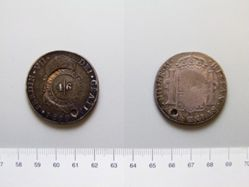 Silver 8 reales of Ferdinand VII of Spain, countermarked by McFie, Lindsay & Co, Scotland