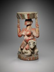 Bowl Supported by a Female Figure Seated on a Horned Quadruped