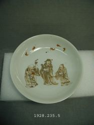 Dish with Design of Confucius, Laozi, Buddha and Five Bats
