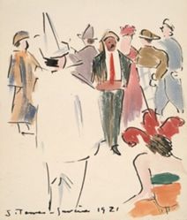 Artists' Ball: Pierrot and Figures Standing