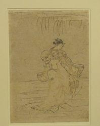Daruma carrying woman on his back