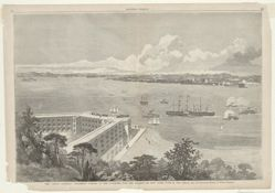 """The """"Great Eastern"""" Steamship coming up the Narrows into the Harbor of New York, June 28, 1860. [Drawn from the Telegraph Station on Staten Island.]"""